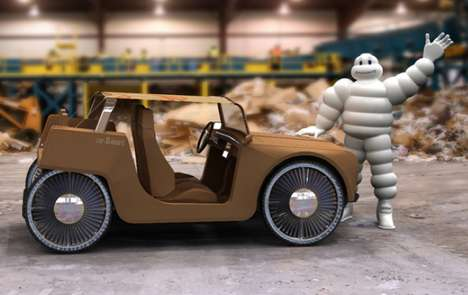 Rad Recyclable Vehicles - The Incredible Michelin carDboard Concept Car is Made Paper and Plastic