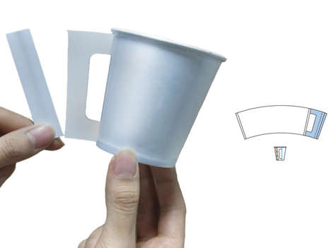 Handy Coffee Cups - The + 4.5 Paper Cup Integrates a Handle and an Implement for Manual Mixing