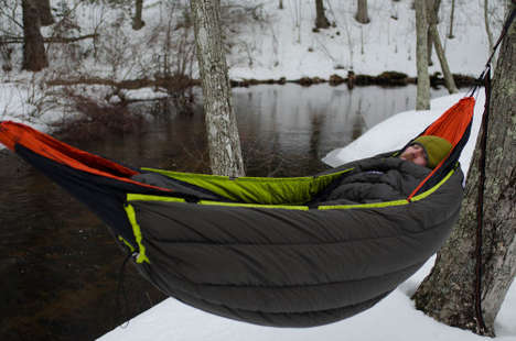 Winter Sleeping Swings - The Eagles Nest Outfitters Blaze Underquilt Makes Hammocks Cozy in the Cold