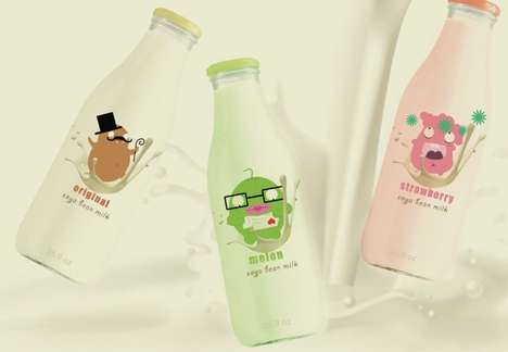 Cute Cartooned Beverages - SoyMilk Packaging Visually Entices with Endearing Illustrated Labels