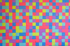 DIY Vibrantly Checkered Wallpaper - This Colorful Backdrop is Made from Multiple Post-it Notes