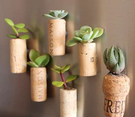 DIY Magnetic Cork Planters - These DIY Cork Planters are Cute and Easy to Create