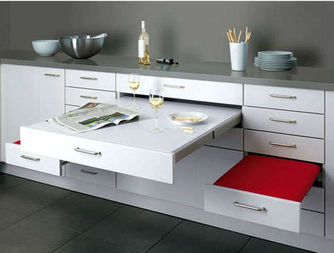 Drawer Dining Sets - The Alno Pull-Out Dining Set is Compact for Small Spaces