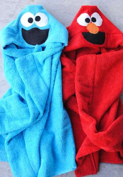 DIY Puppet Character Robes - The 'Cookie Monster & Elmo Hooded Towel' is Perfect for Children