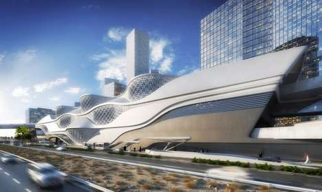 Ship-Like Transit Hubs - The King Abdullah Financial District Metro Station is Undulating