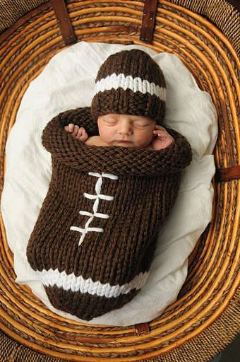 Sporty Infant Cocoons - These Knitted Ball-Inspired Baby Wraps are Cute and Cozy