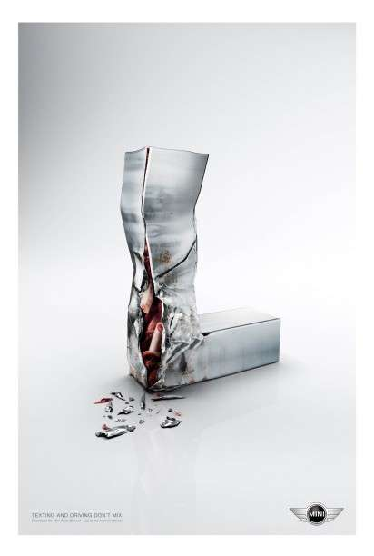 Traumatized Typography Texting Ads - The MINI Word Blocker App Campaign Promotes Safe Driving