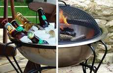 Dual-Purpose Backyard Accessories - This Cold Drinks Day Tub Converts to a Fire Pit at Night