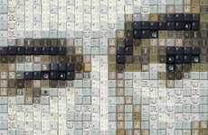Celebrity Keyboard Portraits - WBK Creates Famous Faces Out of Technology in 'Analog to Digital'