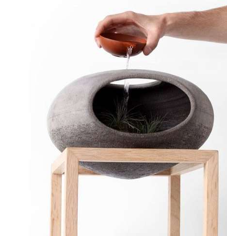 Cave-Like Planters - The Wellspring by Martin Azua is a Self-Contained Ecosystem