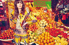 Vibrant Supermarket Editorials - The Harper's Bazaar June Issue Mixes Funky Fashion and Food