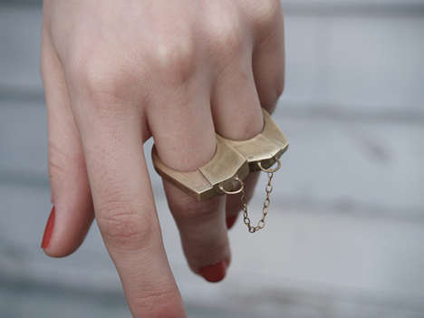 Chic Bondage Jewelry - Designer Natalie Hirsh Creates Handcuff Rings For The Edgy Jewelry Wearer