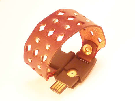 Portable Tech Storage Jewellery - The Hand Crafted Leather 'TEK Bracelet' is Chicly Mult
