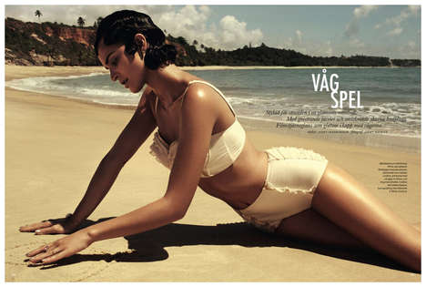 Vintage-Inspired Swimwear Editorials - The ELLE Sweden 'Vag Spel' Photoshoot Stars Celia Becker