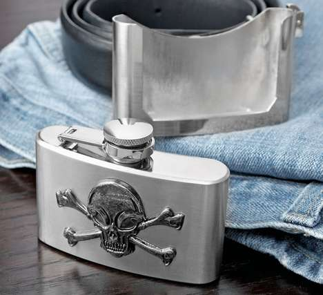 skull belt buckle flasks