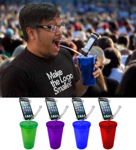 Smartphone-Displaying Cups - The 'Cell Phone Holder Party Cup' Displays Your Device While You Drink