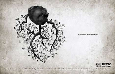 Bird-Infested Organ Ads - A Campaign Against Histoplasmosis has Birds Nesting on Organ Branches