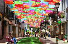 Umbrella-Roofed Shopping Malls - This Portugal Shopping Mall is Decorated with Hundreds of Umbrellas