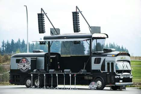 Stage-Converting Buses - The Red Bull Tour Bus Converts into a Fully Functional Concert Stage