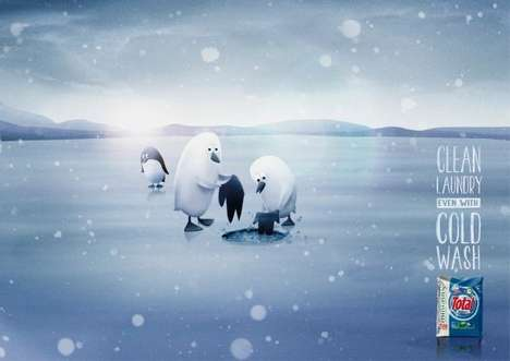 Laundry-Doing Penguin Ads - The Total Cold Wash Campaign is Adorably Clean