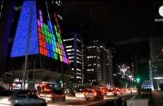 Tetris Covered City Buildings - The 'Retro Arcade Gaming Building Facade' in Brazil is Old-School
