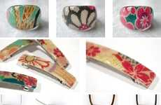 Kimono Fabric Jewelry and Acrylic Rings