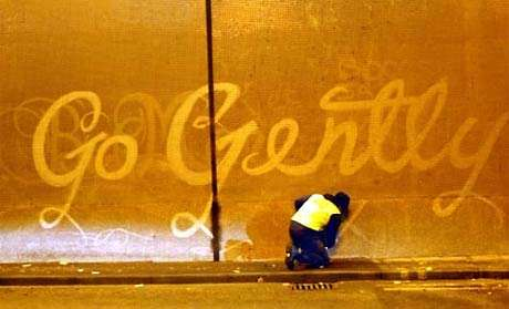 Reverse Graffiti - Cleaning Your Message into the Wall