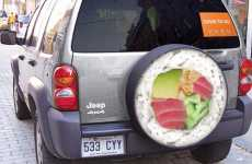 Advertising on Spare Tires - Yuzu Sushi Guerrilla Ad