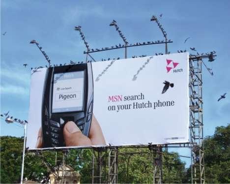 Using Live Pigeons in Billboards