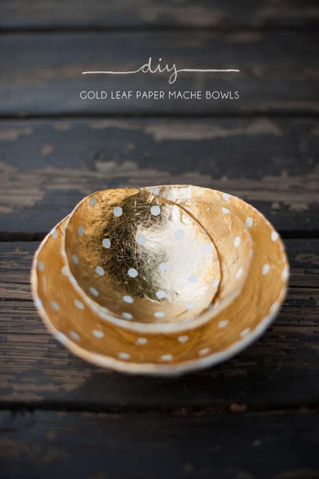 DIY Luxurious Mache Dishes - This Kelli Murray Bowl Tutorial is Brimming with Gold Trim