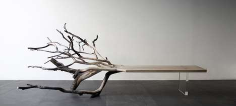 Half-Processed Benches - The 'FallenTree' Bench Merges Natural and Artificial