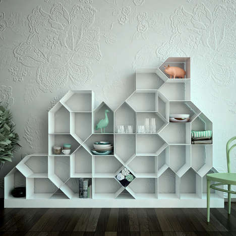 House-Shaped Shelving Units - The Citybook Modular Bookcase Makes a Chaotic Community