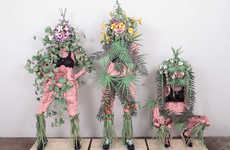 Provocative Paper Sculptures - Flower Girls by Michelle Matson Depicts Fleshy Flaunting Characters