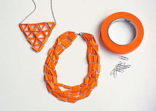 DIY Taped Paperclip Necklaces