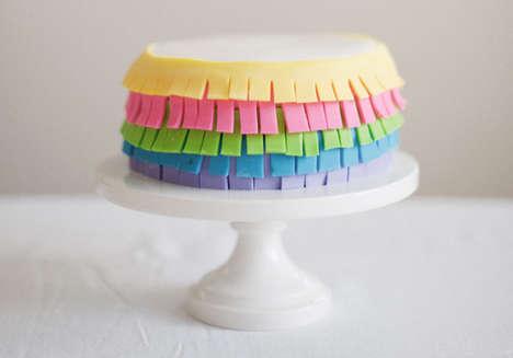 DIY Fondant Fringe Cake - This Colorful Fondant Cake Recipe is Fashionably Fringy