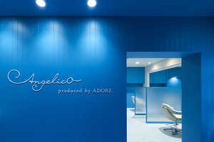 'Angelico' is a Stylish Hair Salon That is Blue on the Interior