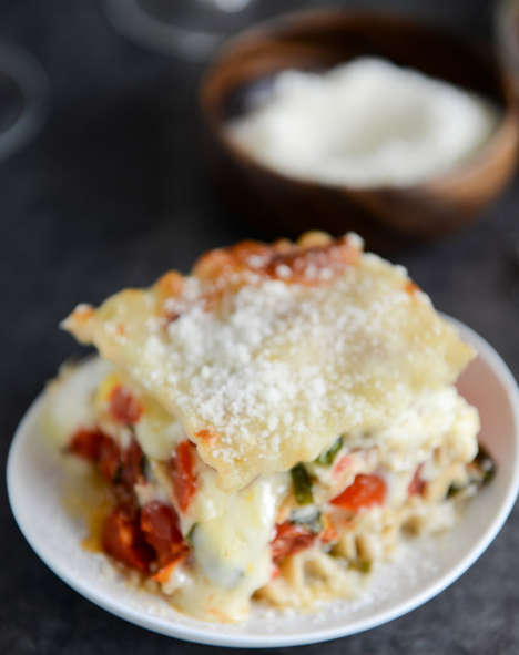 Veggie Pizza-Inspired Lasagna - This Recipe for White Pizza Lasagna is Completely Vegetarian