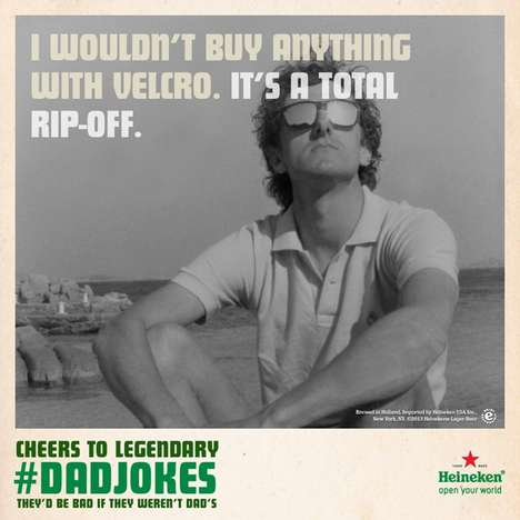 Punny Father's Day Beer Ads - The Heineken 'Legendary Dad Jokes' Campaign Showcases Cheesy Jokes
