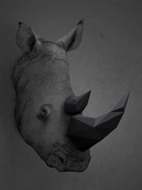 Crystallized Animal Artworks - The Trigonal Meshes and Animals Series by Kaan Bagci is Conceptual