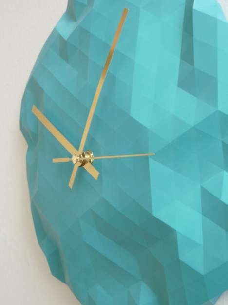 Pixelated Time-Tellers - The Faceted Wall Clock by Raw Dezign is a Geodesic Gem