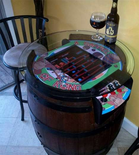Boozy Gamer Furniture - The Donkey Kong Wine Barrel Is a Classy