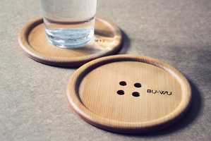 This Cute Wooden Drink Coaster Looks Like a Giant Button