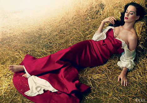 Glam Popstar Farm Photoshoots - The Katy Perry Vogue Magazine Feature Depicts a Chic Day on the Farm