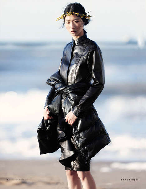 Feminized Monochromatic Fashion - The Vogue Russia July 2013 Editorial Stars a Sweet Ji Hye Park