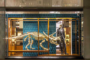 Gold Dinosaurs are Used in the Louis Vuitton Displa