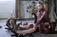 Owl-Filled Fashion Ads - The Mulberry Fall Campaign Stars an Elegant Cara Delevingne