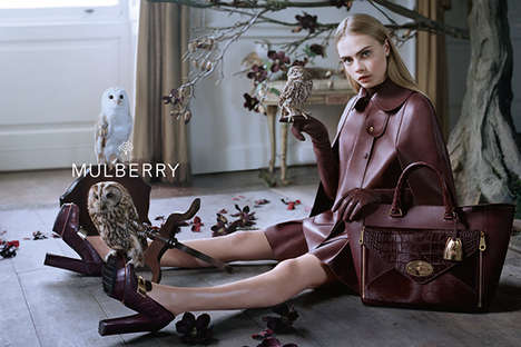 Owl-Filled Fashion Ads - The Mulberry Fall 2013 Campaign Stars an Elegant Cara Delevingne