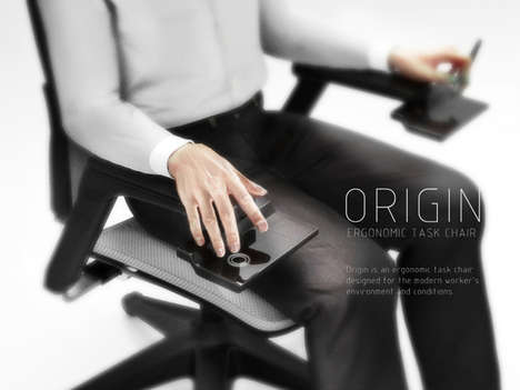 Keyboard-Integrated Chairs - The Origin Ergonomic Task Chair Makes Typing Comfortable