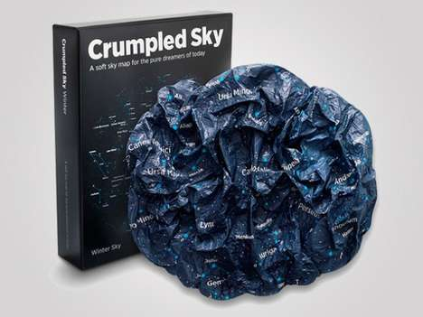 Scrunched-Up Constellation Maps - The Crumpled Sky Map Offers a Way to View the Stars