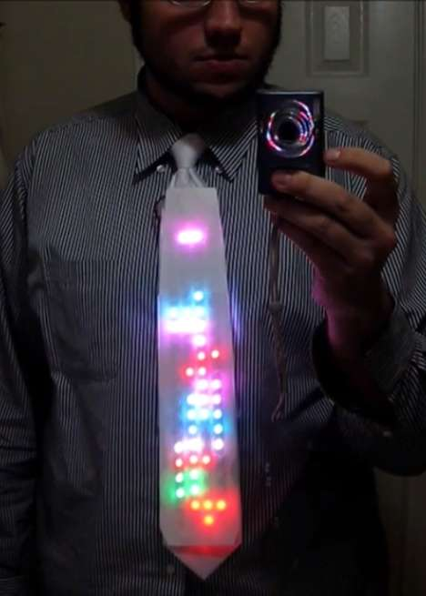 Video Game LED Ties - The LED Tie by Bill Porter is a Great Infusion of Video Game and Fashion